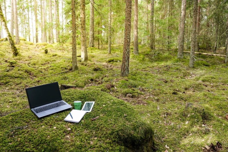 laptop, mobile phone, and notepad in the woods represents remote and isolated sales teams