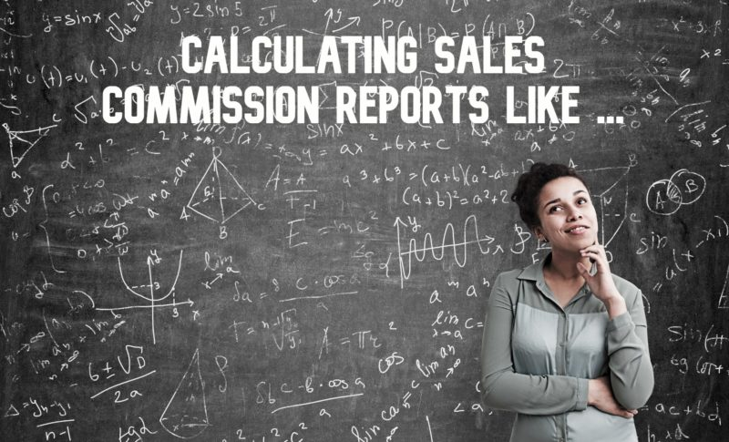 A woman stands in front of a chalkboard covered in mathematical formulas calculating sales commission