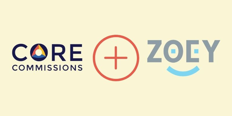 The Core Commissions logo, a plus sign, and the Zoey logo (a B2B e-commerce platform) represents how the two applications can now be integrated.